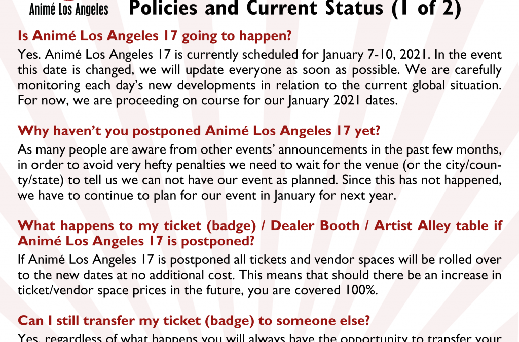 ANIMÉ LOS ANGELES 17 NOVEMBER UPDATE